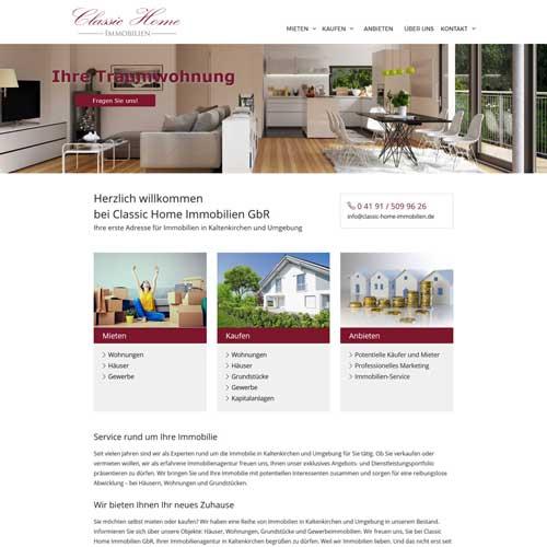 Webdesign Kaltenkirchen Classic Home Immobilien